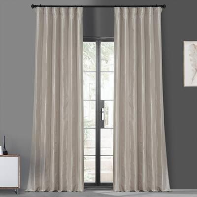 Antique Beige Faux Silk Rod Pocket Blackout Curtain - 50 in. W x 120 in. L