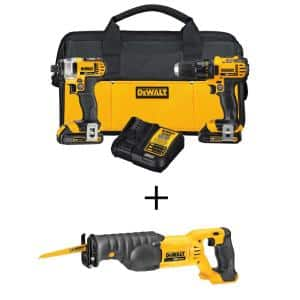 20-Volt MAX Cordless Drill/Impact Combo Kit (2-Tool) with (2) 20-Volt 1.5Ah Batteries, Charger & Reciprocating Saw