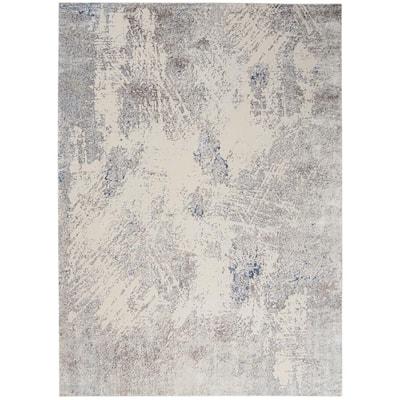 Sleek Textures Ivory/Grey 9 ft. x 13 ft. Abstract Modern Area Rug