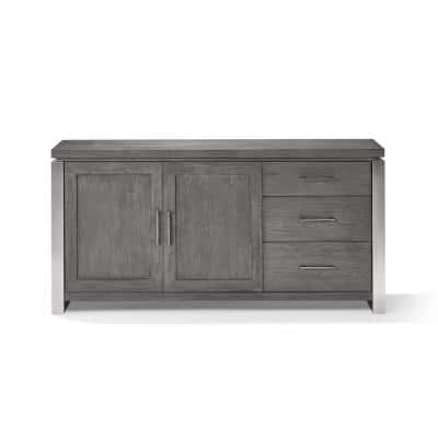 Plata Thunder Grey Sideboard with Brushed stainless Steel Frame