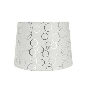 12 in. x 14 in. White with Silver Circle Pattern Hardback Empire Lamp Shade