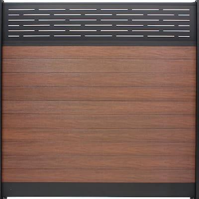 Euro Style 6 ft. x 6 ft. Lattice Top Black Rose Aluminum/Composite Horizontal Fence Panel