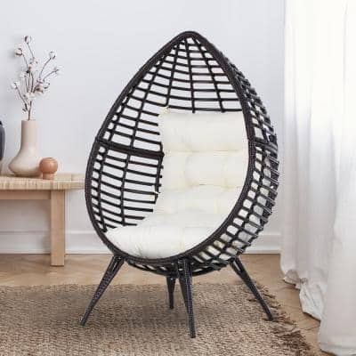 Brown Teardrop Shaped Plastic Rattan Wicker Outdoor Lounge Chair with White Cushion & Elegant Design