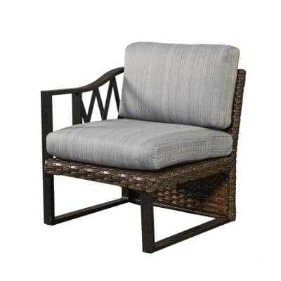 1-Piece Brown Wicker Outdoor Sectional Right Arm Chair with Gray Cushions