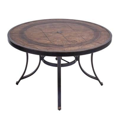 48 in. Brown Round All-Weather Faux Wood Top Dining Table with Umbrella Hole