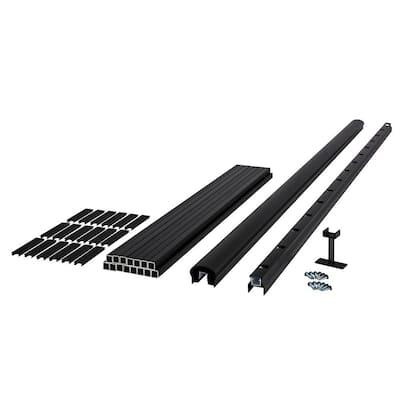 Fiberon HavenView/CitySide 96 in. x 36 in. Matte Aluminum Railing Kit Line-Blk (Includes 2 Crush Block, 20 Balusters, 23