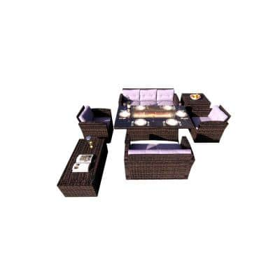 Amy 7-Piece Wicker Patio Fire Pit Conversation Sofa Set with Beige Cushions