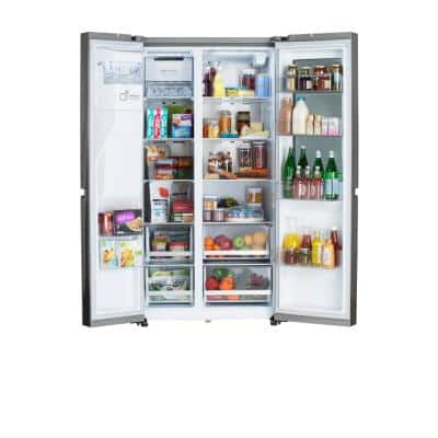 27 cu. ft. Side by Side Refrigerator with InstaView and Dual Ice Maker with Craft Ice in PrintProof Stainless Steel