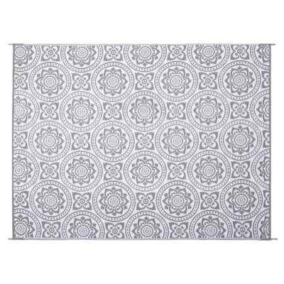 Boho Floral Reversible Mat Gray/White 8' x 10' Virgin Polypropylene Mat with UV Protection