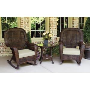 Sea Pines Java 3-Piece Wicker Outdoor Rocking Chair Set with Sunbrella Canvas Canvas