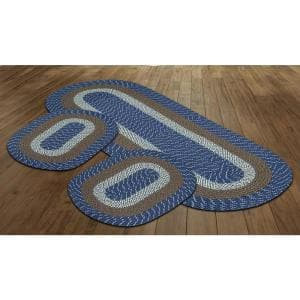 Country Braid Collection 3-Piece Chambray Stripe 100% Polypropylene Reversible Area Rug Set - (20''x30''/24''x72''/20''x30'')
