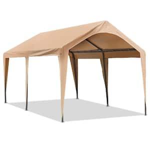 10 ft. L W x 20 ft. L D x 9.5 ft. H Beige Roof Steel Frame Heavy-Duty Carport Canopy