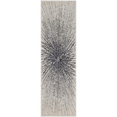 Evoke Black/Ivory 2 ft. x 13 ft. Runner Rug