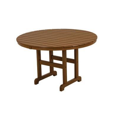 La Casa Cafe 48 in. Teak Round Plastic Outdoor Patio Dining Table