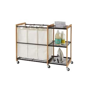 EcoStorage Wheeled 3-Bag Bamboo Laundry Station in Bronze
