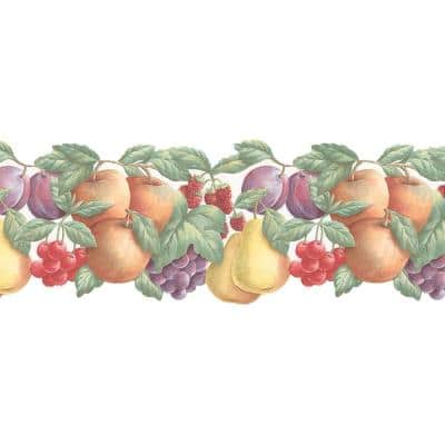 Double Die Cut Fruit Yellow, Red, Purple, Green Wallpaper Border