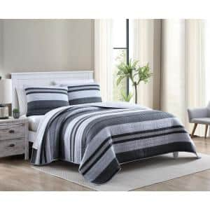 Ardmoore 3-Piece Gray Striped Cotton King Quilt Set