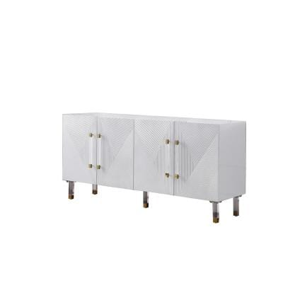 """Hyrum 65"""" High Gloss with Gold Accent Modern Sideboard, White"""