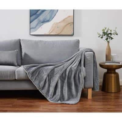 Solid Plush Grey Polyester 50 in. x 60 in. Throw Blanket