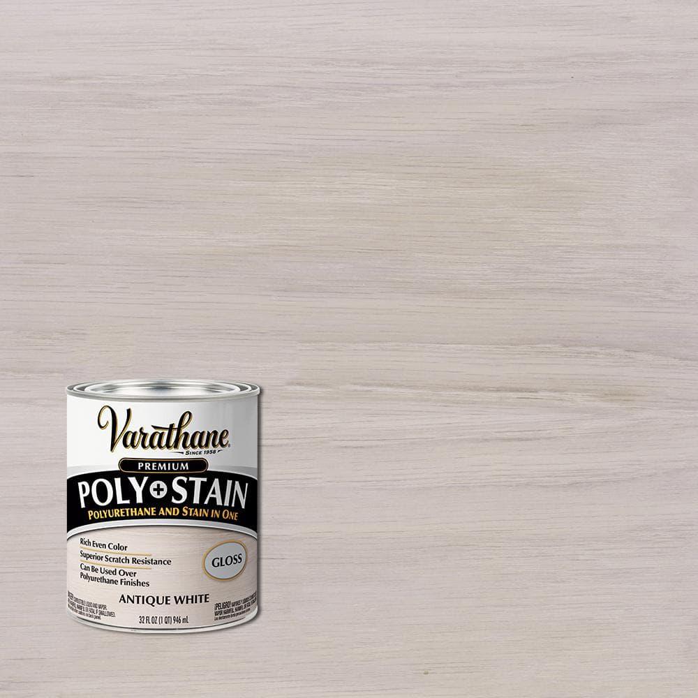 Varathane 1 Qt. Antique White Semi-Transparent Gloss Oil-Based Interior Polyurethane and Stain (2-Pack)