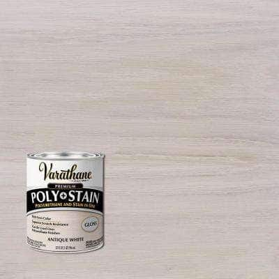 1 qt. Anitque White Gloss Semi-Transparent Oil-Based Interior Wood Polyurethane and Stain