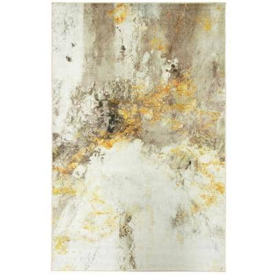 Gold Vein Grey 4 ft. x 6 ft. Abstract Area Rug