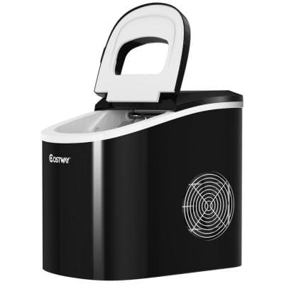 14 in. 26 lbs. Portable Compact Electric Ice Maker Machine Mini Cube in Black