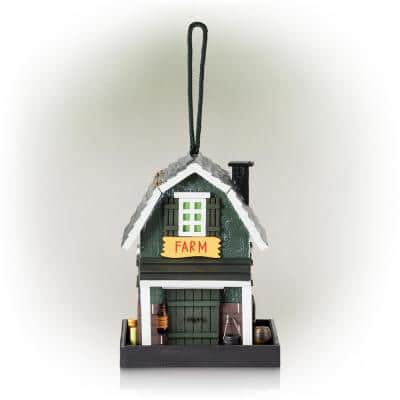 9 in. Tall Wooden Farm Store Hanging or Table Outdoor Bird Feeder House, Black