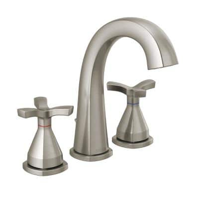 Stryke 8 in. Widespread 2-Handle Bathroom Faucet with Metal Drain Assembly in Stainless