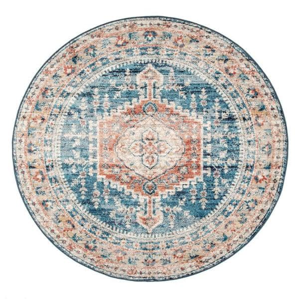 Stylewell Harley Barbed Mast Medallion Blue 5 Ft X 5 Ft Round Indoor Area Rug Kkdl06a R505 The Home Depot