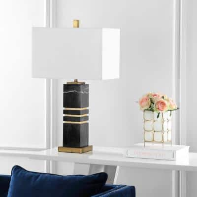 Jaxton Marble 27.5 in. Black/Gold Column Table Lamp with White Shade
