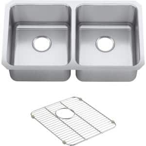 Undertone Preserve Undermount Stainless Steel 32 in. Double Bowl Scratch-Resistant Kitchen Sink Kit with Basin Rack