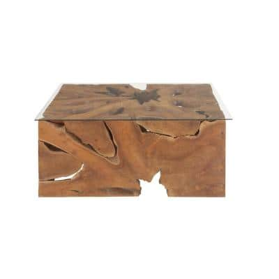 40 in. x 18 in. Large Rectangular Live Edge Natural Teak Wood Coffee Table