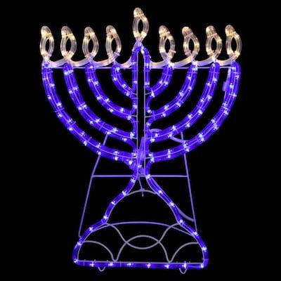 23 in. Warm White LED Rope 156-Light Menorah Commercial Hanukkah Decoration