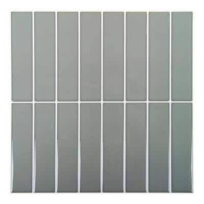 6-Pieces 10 in. x 10 in. Grey Truu Design Self-Adhesive Peel and Stick Accent Wall Tiles