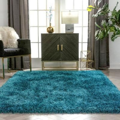 Kuki Chie Glam Solid Textured Ultra-Soft Teal 7 ft. 10 in. x 9 ft. 10 in. 2-Tone Shag Area Rug