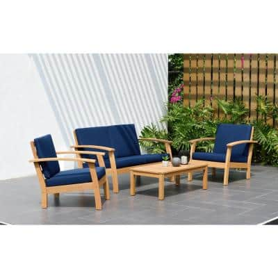 Trentino 4-Piece Teak Patio Conversation Deep Seating Set with Blue Cushions