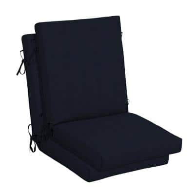 21 in. x 24 in. Midnight Outdoor High Back Dining Chair Cushion (2-Pack)