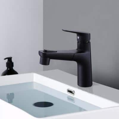 Single Handle Single Hole Bathroom Faucet with Pull-Down Sprayer in Matte Black