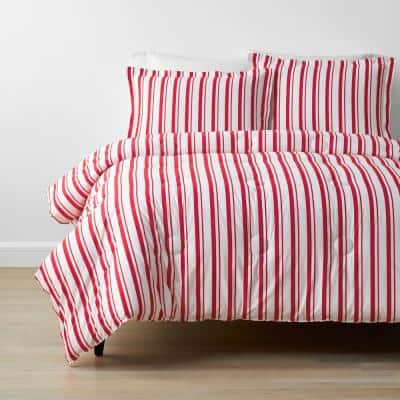 Company Kids Stripe 3-Piece Red Organic Cotton Percale Full Comforter Set