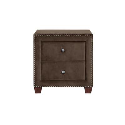 Aliyah 2-Drawer Brown Velvet Fully Upholstered Nightstand