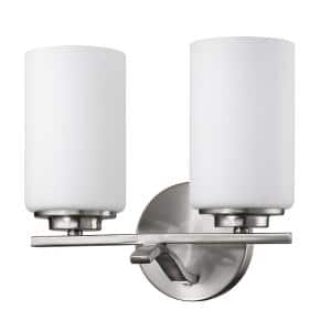Poydras 2-Light Satin Nickel Vanity Light with Etched Glass Shades