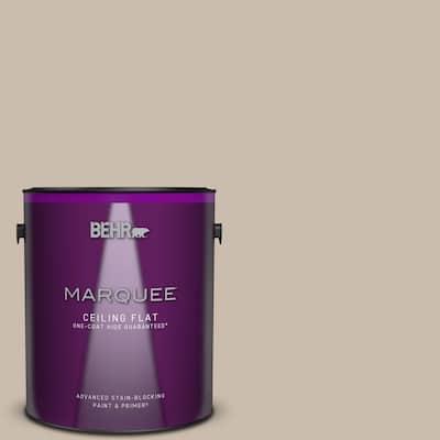 1 gal. #PPU5-13 Creamy Mushroom One-Coat Hide Ceiling Flat Interior Paint & Primer