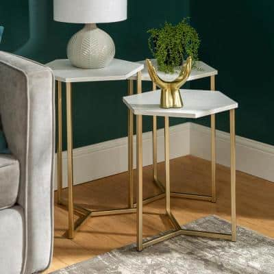 Modern Transitional Faux White Marble/Gold Hex Wood and Metal Nesting Tables (Set of 3)