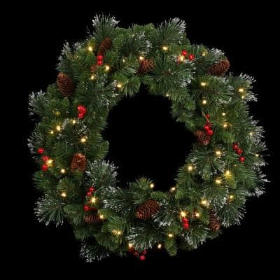 Crestwood Spruce 24 in. Artificial Wreath with Battery Operated Warm White LED Lights