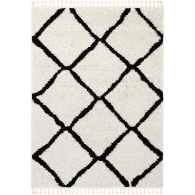 Cabana Celosia Moroccan Shag Black 5 ft. 3 in. x 7 ft. 3 in. Soft Area Rug