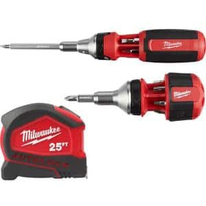9-in-1 Ratcheting Multi-Bit Screwdriver with 8-in-1 Compact Ratcheting Multi-Bit Screwdriver and 25 ft. Tape Measure