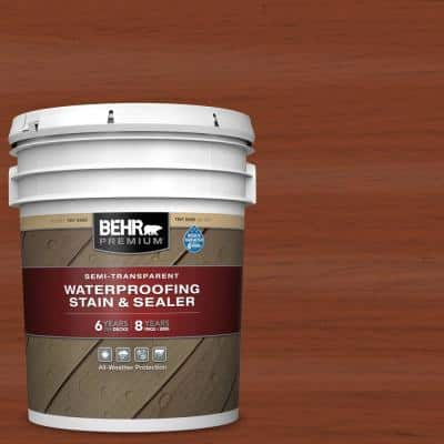 5 gal. #ST-142 Cappuccino Semi-Transparent Waterproofing Exterior Wood Stain and Sealer