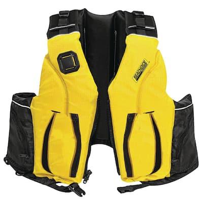 Small/Madium Adult Dual Size Canoe/Kayak Life Jacket, Yellow/Black