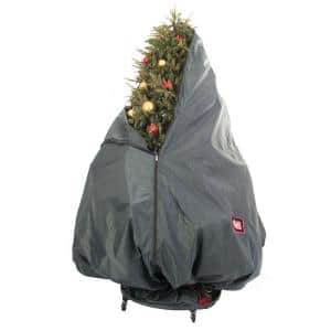 Decorated Upright Tree Storage Bag with Rolling Tree Stand